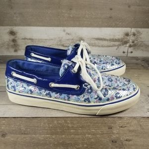Sperry Blue Sequin Floral Top Sider
